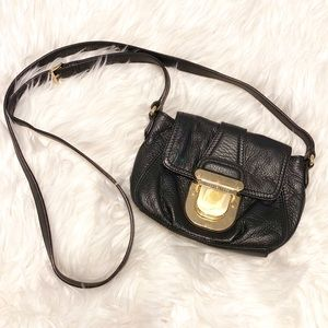 Michael Kors black buckle crossbody leather